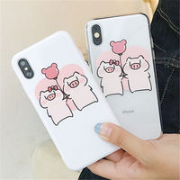 100pcs Cartoon Pink Cute Pigs Phone Case For iPhone Xs Max XR XS 6 6S 6plus 7 8 Plus X Soft tpu Silicone Mobile Phone Bags Cases