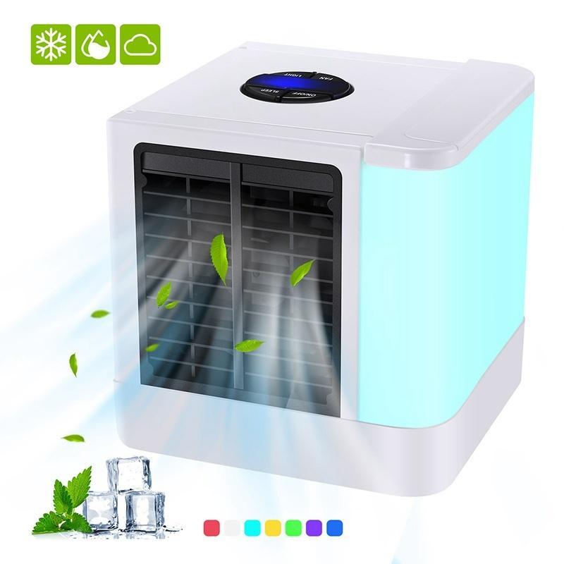 Nouveau refroidisseur d'air et humidificateur d'air Portable mini ventilateurs climatiseur dispositif 7 lumières de couleur