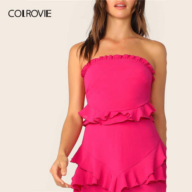COLROVIE неоновое ярко-розовое сексуальное мини-платье с бантом и рюшами на спине для женщин 2019 летнее платье без бретелек для отдыха и отдыха для девушек