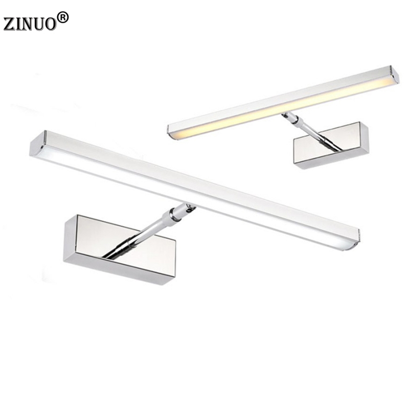 ZINUO 7W 39CM Bathroom Led Mirror Front Light LED Stainless Steel Wall Mounted Make-up Bathroom Lights AC220V Modern Wall Lamps 7w 55cm bathroom led mirror lights waterproof 220v stainless steel sconces led makeup mirror mounted wall lamps