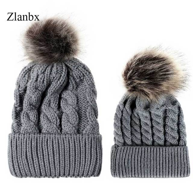 113f58fb8b70a Mother and Daughter Hats Pompom Kids Warm Knitted Hat Family Matching  Children Hats And Caps Winter Newborn Baby Hat Beanie Cap