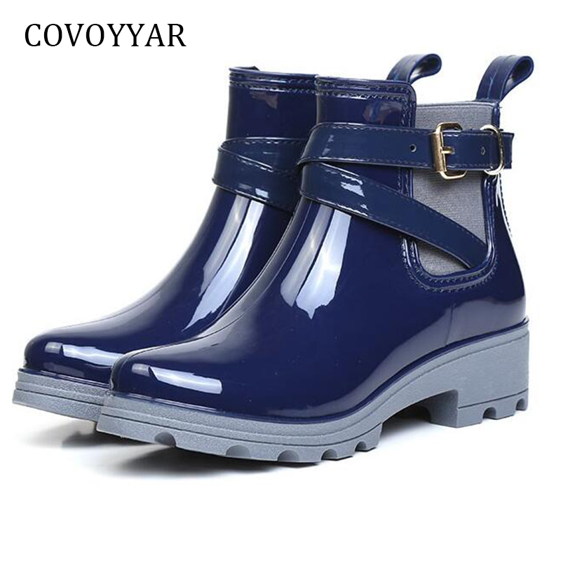 COVOYYAR Waterproof Rain Boots Women 2018 Fashion PVC Rubber Motorcycle Ankle Boots Buckle Platform Non-Slip Jelly Shoes WBS932