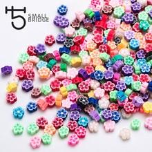 9 мм микс Col цветок из полимерной глины бисер девушка Diy аксессуары для изготовления браслетов Perles Свободные Круглые Fimo бусины оптом C201