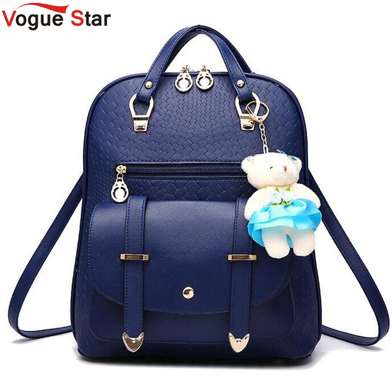 Vogue Star 2018 New Casual Girls Backpack PU Leather Fashion Women Backpack School Travel Bag With Bear Doll For Teenagers LA148