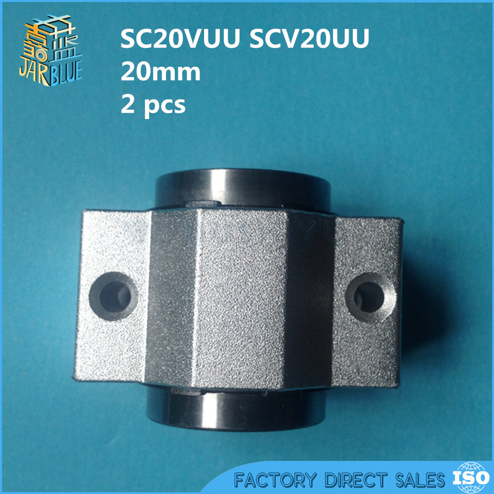 2 pcs SC20VUU SC20V SCV20UU SCV20 20mm CNC DIY unit short slide block linear slide bearing units for XYZ table CNC router free shipping sc16vuu sc16v scv16uu scv16 16mm linear bearing block diy linear slide bearing units cnc router