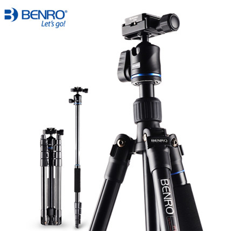 Benro IT15 Portable Lightweight Tripod Kit Mobile Table Tripod Video Ball Head Aluminum Camera Tripod Monopod For Digital SLR benro aluminum tripod 3 8 super strong impact resistance horizontal axis camera tripod multifunctional alloy tripod ga169t