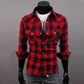 Moda de nova Mens Slim Fit Casual & Vestido da Verificação da Manta Camisa Estilo Coreano Preto Vermelho Tamanho EUA