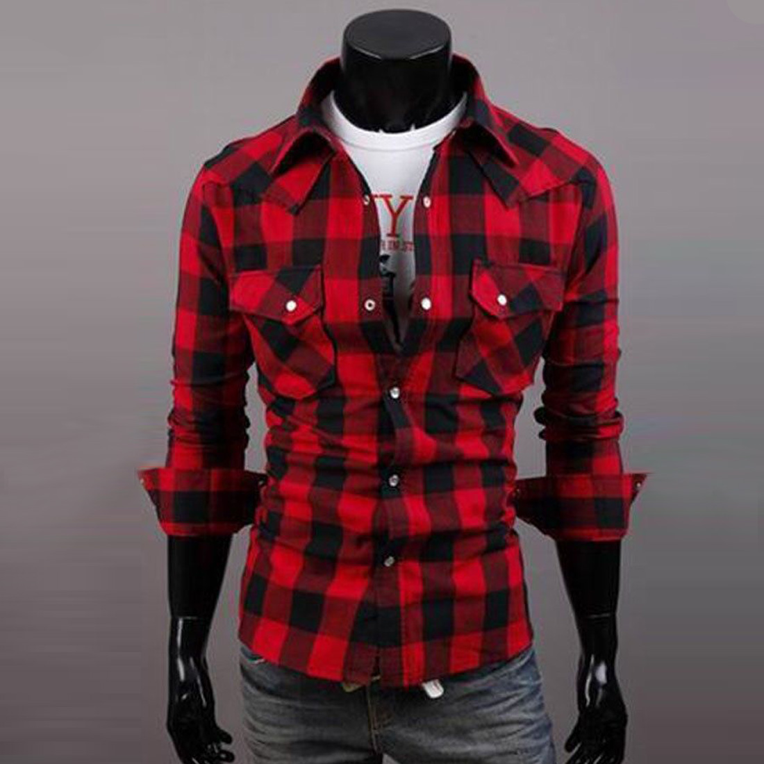 mens red and black plaid shirt page 1 - button