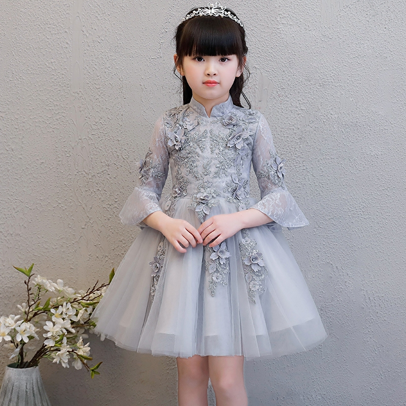 New Children Girls Elegant Birthday Wedding Party Flowers Princess Lace Ball Gown Mesh Dress Baby Kids Red/Pink Pageant Dress