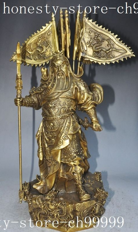 Crafts statue chinese brass guan gong guan yu Warrior god hold Broadsword 5 dragon statue halloween