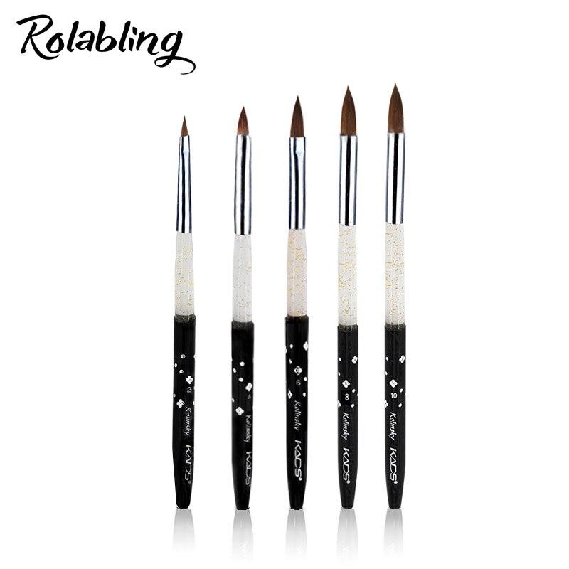 Rolabling Kolinsky Sable 5pcs/SET size 2#/4#/6#/8#/10# acrylic brush black Kolinsky sable acrylic nail brush nail art design osaka acrylic nail kolinsky brush 14