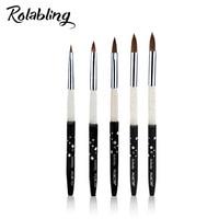 Rolabling Kolinsky Sable 5pcs/SET size 2#/4#/6#/8#/10# acrylic brush black Kolinsky sable acrylic nail brush nail art design