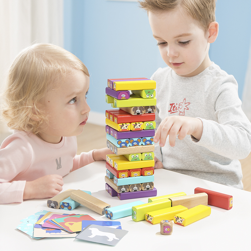 TOPBRIGHT Animal blocs de construction Jenga enfants jouets éducatifs parent-enfant interactive de jeux de table