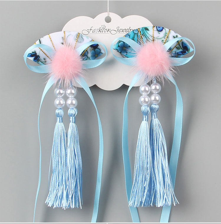Chinese Style Child lovely Tiaras Hair Clips High Quality Bow fan Tassel Ribbon Hair Clips for Kids Girls Hairpins in Hair Jewelry from Jewelry Accessories