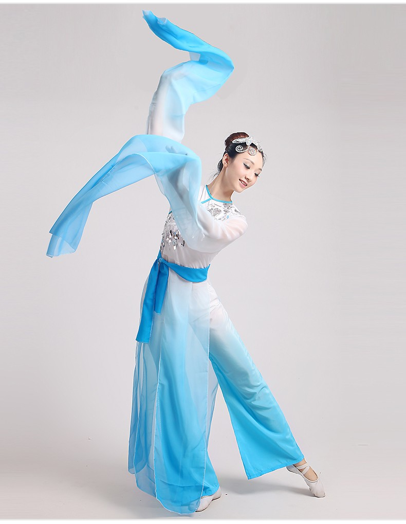 684905db3 Classical new fashion long sleeves blue fairy clothing stage performance  Chinese folk ink water sleeves dance costumes-in Chinese Folk Dance from  Novelty ...