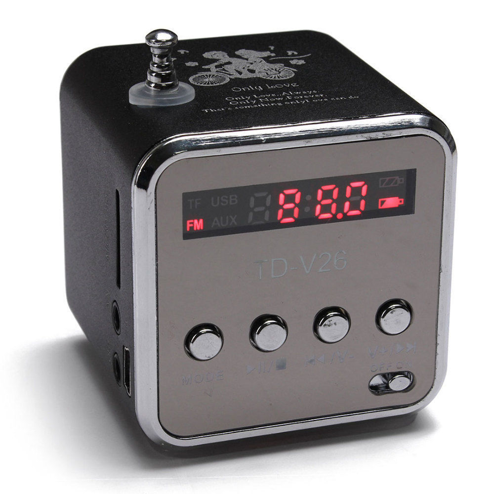 Heißer Verkauf TD-V26 BEWEGLICHER Radio FM Micro SD/TF Musik-player Digitale Lcd-anzeige Mini Lautsprecher Geeignet für Innen Außenbereich