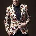 Весна Осень Мода Стильный Дизайнер Мужской Золото Выросли Цветочный Узор Тонкий Пиджак, повседневная Прохладный Человек Мужской Одна Кнопка Пиджаки Пальто