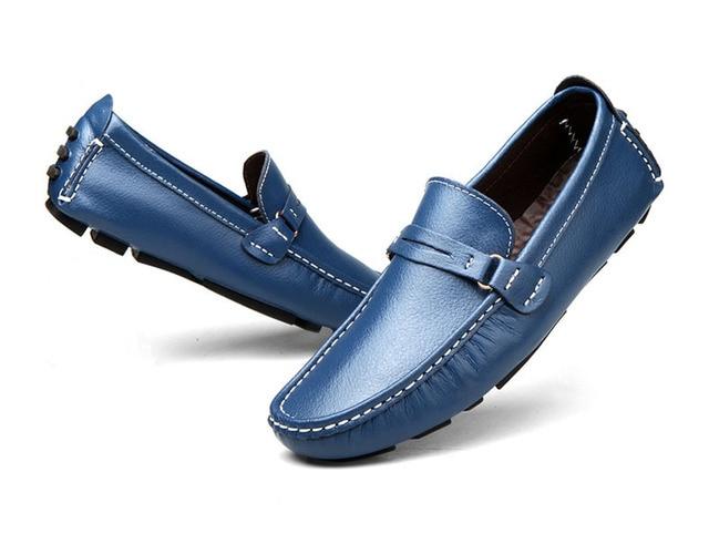 Planos de los hombres 2017 Nuevo Mejor Calidad de Cuero Genuino de los Zapatos Ocasionales Suaves Mocasines Cómodos Zapatos Del Barco de Conducción Sapatos