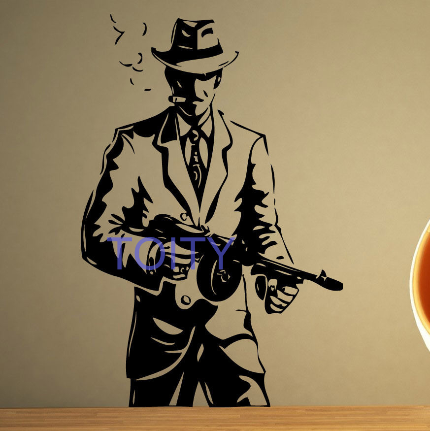 Tommy Gun Gangster Drawings Gangster Mob Wall Stic...