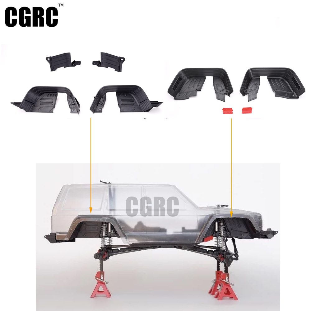 Front / Rear Inner Fender Wells / Mudguard For Axial Scx10 Ii Ax90046 Ax90047 injora new rc car interior decoration for 1 10 axial scx10 ii 90046 90047 cherokee body car shell