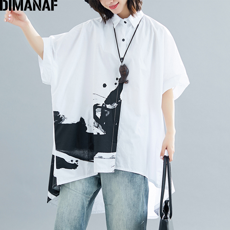 DIMANAF Plus Size Women   Blouse     Shirts   Big Size Lady Tops Tunic Print Loose Casual Batwing Sleeve Summer Female Clothing 5XL 6XL