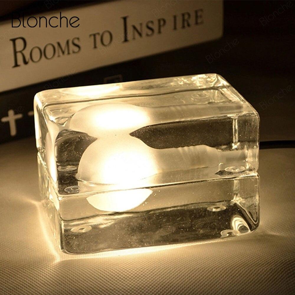 Moderne lampes de table LED glaçons lampe de chevet nordique créatif chambre lumière transparente verre luminaires pour comptoir décor