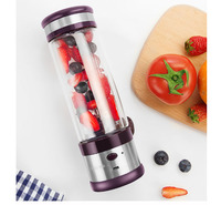 fruit juice machine small electric Office Out home mini Cooking 4 Leaf Blades Milk shake soy milk 350ML Rechargeable portable
