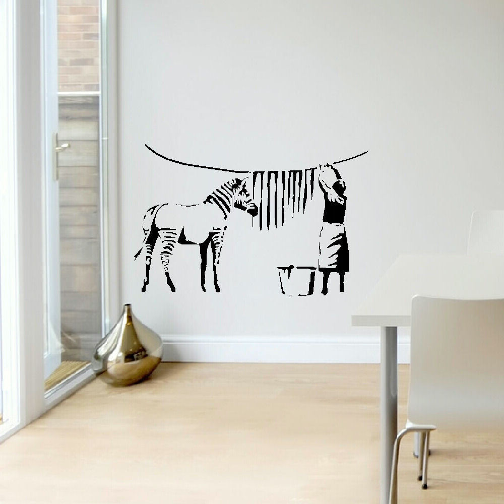 BANKSY ZEBRA STRIPES LAUNDRY ROOM WALL ART STICKER MURAL TRANSFER DECAL  Wall Sticker Fashion Wall Sticker Pattern In Wall Stickers From Home U0026  Garden On ... Part 77