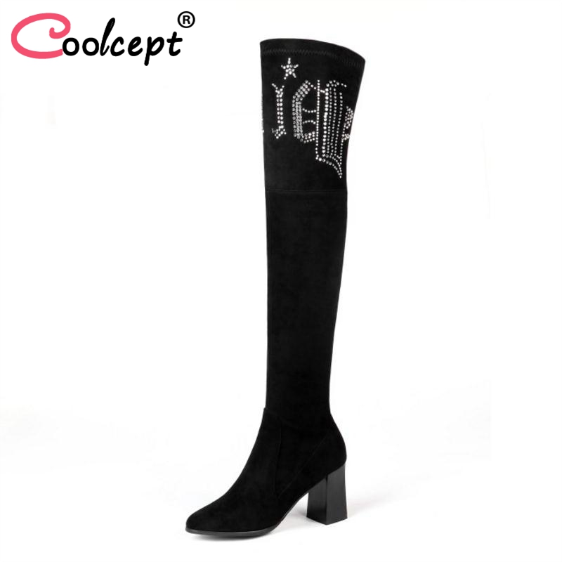 Coolcept Plus Size 31-45 Real Leather High Heel Boots Women Over Knee Winter Shoes Woman Warm Fur Shoes Crystal Long Boots coolcept size 31 45 warm winter boots for women real leather over knee long boots women rivets thick high heels warm botas