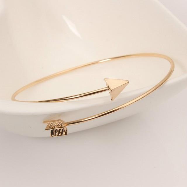 Fashionable Simple Gothic Punk Ladies Arrow Bracelets Wrist Bracelets Jewelry Open Adjustable Arrow Bracelets Thin Bracelet