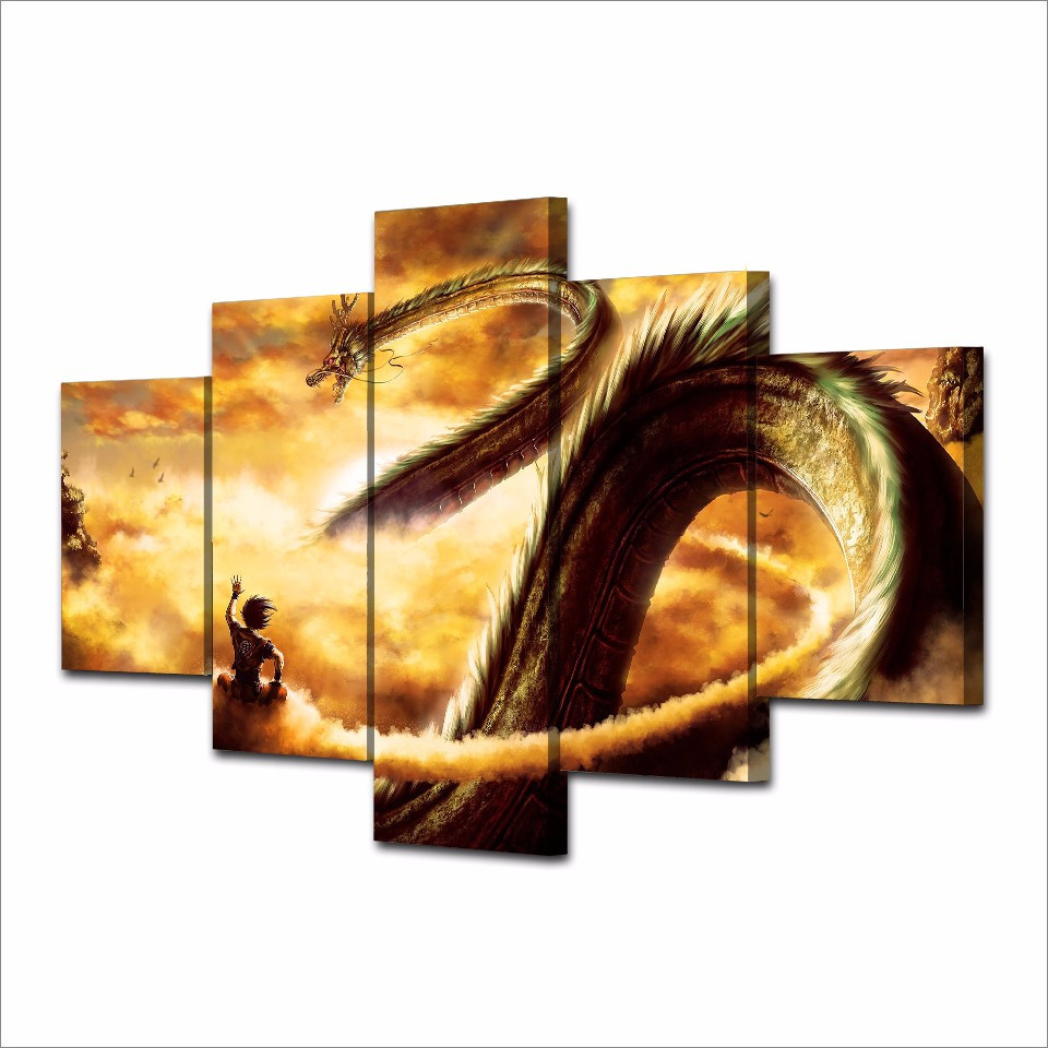 5 pieces goku and shen long oil painting on canvas poster for House decoration pieces