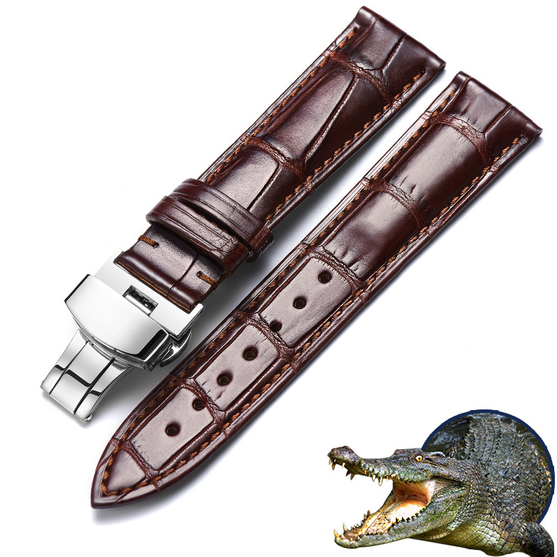 Fashion Top Brand Luxury Bamboo Grain Genuine Crocodile Leather Mens Womens Watchband 12 To 24mm Alligator Watch Band Relogio new fashion replace watch band 22mm 24mm mens womens dark blue 100% genuine crocodile grain leather watch strap band bracelets