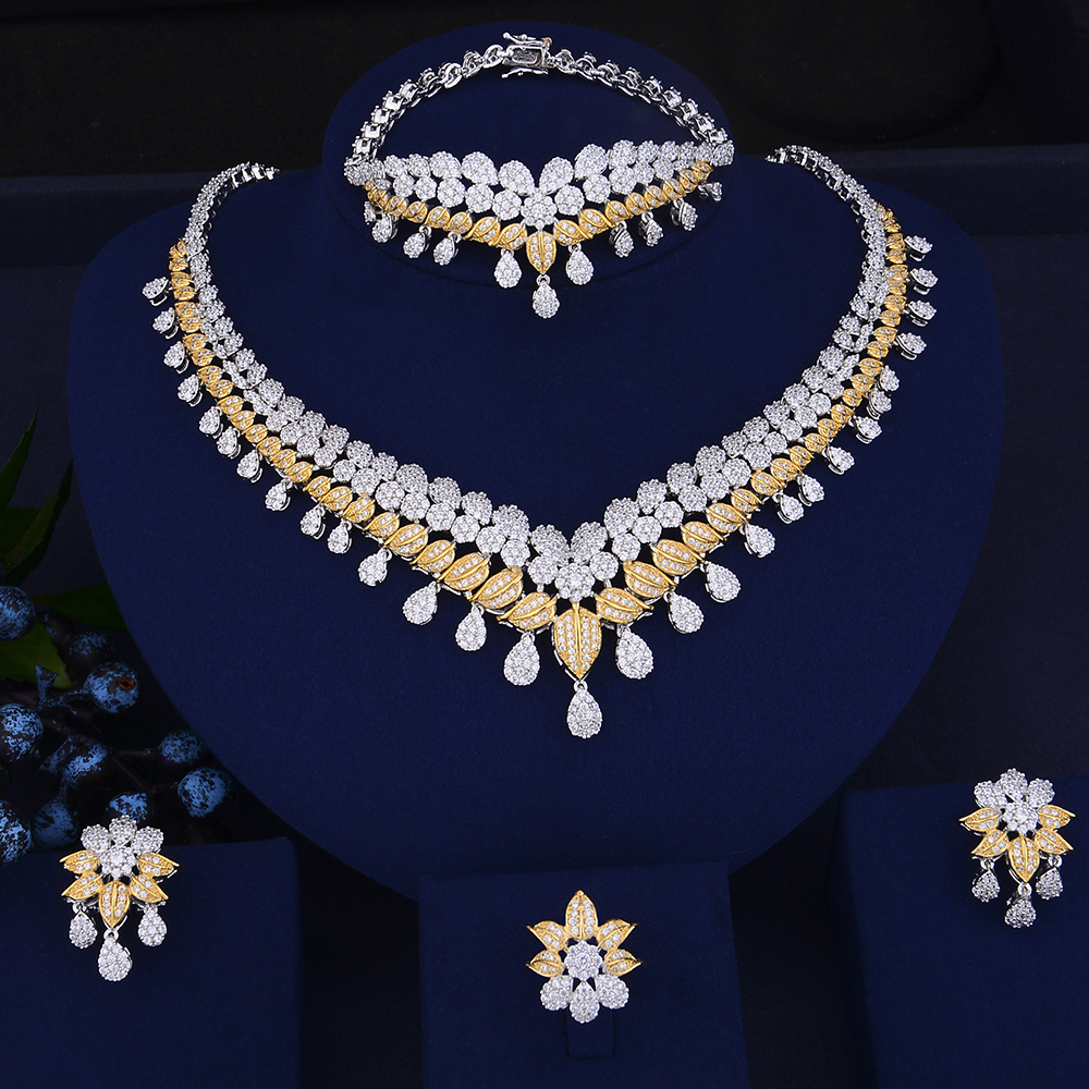 GODKI New Trendy Luxury Water Drop African Lariat Drop Jewelry Sets For Women Wedding Zircon CZ