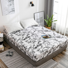 Bonenjoy Marble Fitted Bed Sheet King Size Quartz Bed Sheet with Elastic Queen Bed Linen Black White Mattress Cover Bed Sheets
