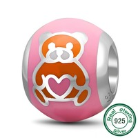 ChaWin 925 Sterling Silver Bear Love Charm Pink Bead Fits Pandora Charms Bracelets Necklaces