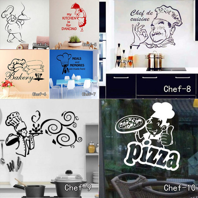 Kitchen Wall Stickers Chef De Cuisine Removable Wall Decals Vinyl