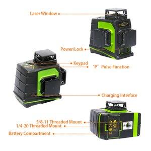 Image 3 - Huepar niveau Laser 3D vert 12 lignes croisées nivellement automatique, projection à 360 degrés et recharge sur prise USB