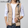 Fashion Hooded Vest Men 2016 Winter Thickening Cotton Wadded Zipper Slim Waistcoat Male Sleeveless Jacket