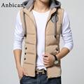 Fashion Hooded Vest Men 2016 Winter Thickening Cotton Wadded Zipper Slim Waistcoat Male Sleeveless Jacket
