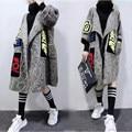 Invierno del otoño del resorte flojo ocasional más tamaño hembra de la rebeca 200 hilo medio-largo suéter de las mujeres prendas de vestir exteriores