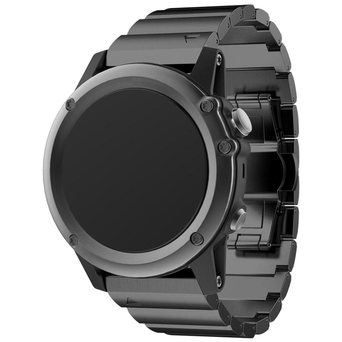 Metal Bracelet Stainless Steel Watch Wrist Band Strap For Garmin Fenix 3 HR Colour Black