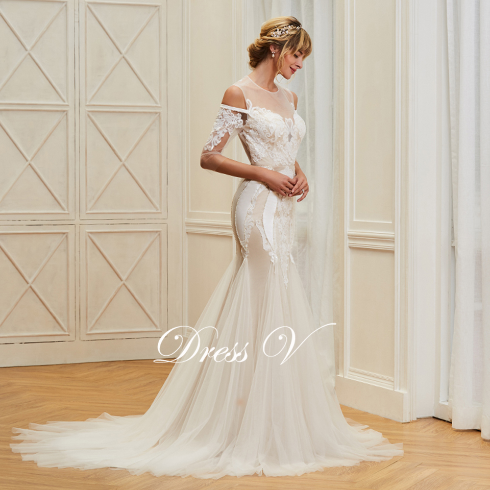 Dressv appliques elegant scoop neck wedding dress 3 4 sleeves floor length  beading bridal 64e12853153f