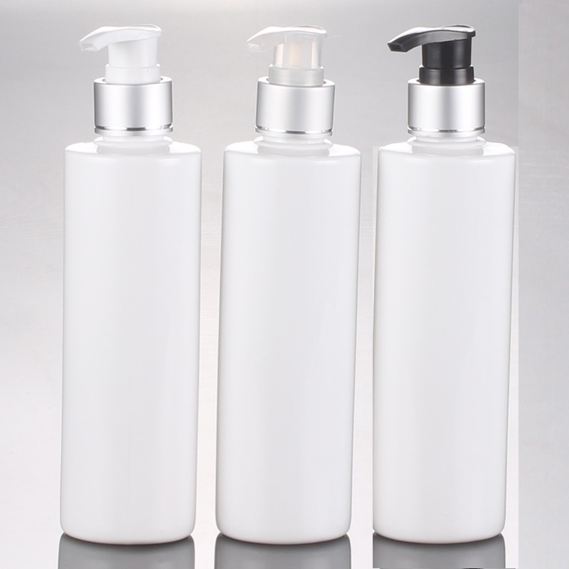 250ML WHITE PET BOTTLE WITH PRESS PUMP OR LOTION BOTTLE WITH BLACK WHITE TRANSPARENET PRESS PUMP