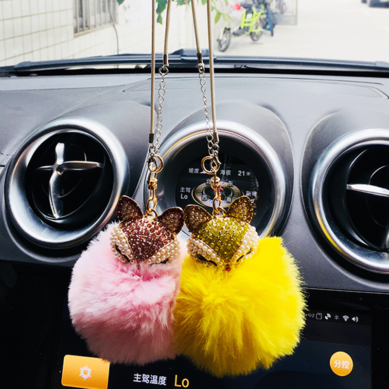 Diamond Fox Fur Ball Pendant Car Rearview Mirror Decoration Interior Accessories Girl Gift