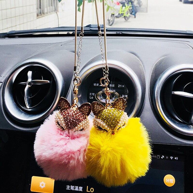 Diamond Diamond Fox Fur Ball Pendant Car Rearview Mirror Decoration Car Interior Accessories Accessories Girl Gift