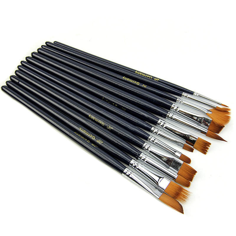 12pcs Artist Brushes Set Short Wooden Handle Nylon Hair Watercolor Painting Brush For Oil Painting Tools
