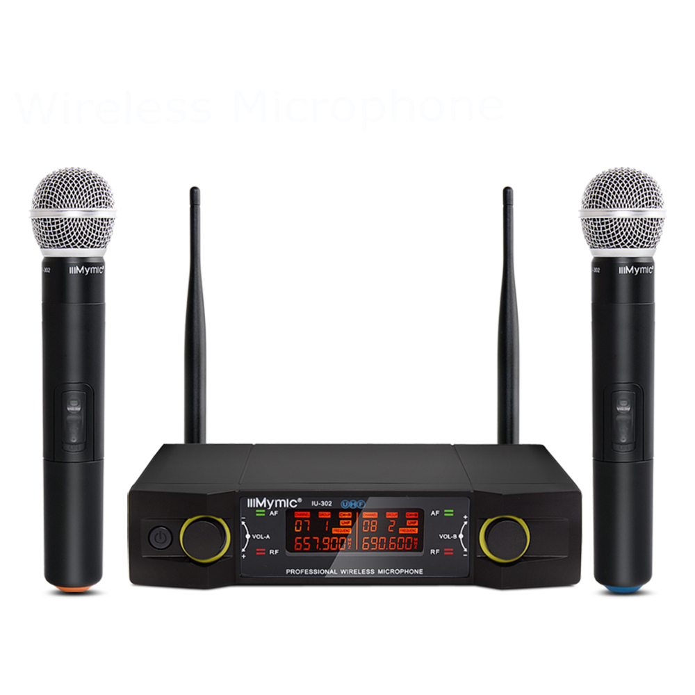 IU 302 UHF Dual Channel 2 Handheld Mic Transmitter Professional Karaoke UHF Wireless Microphone System with