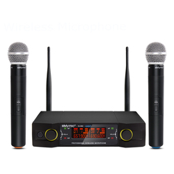 IU-302 UHF Dual Channel 2 Handheld Mic Transmitter Professional Karaoke UHF Wireless Microphone System with Display Screen