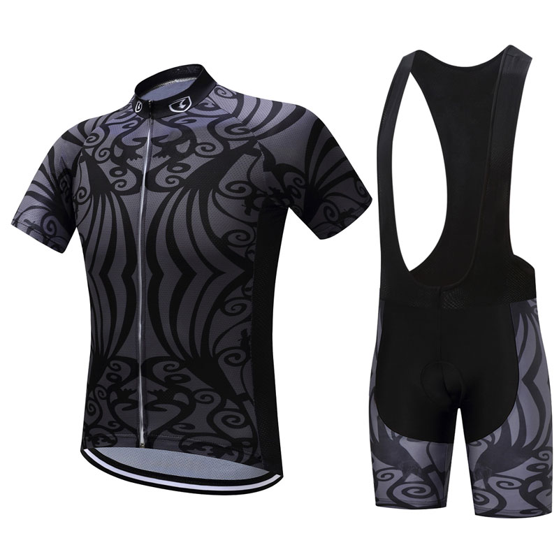 Summer Unisex Quick Dry Cycling Sets Cool Black 3D Padding Cushion Sport Jerseys Customized/Wholesale Service