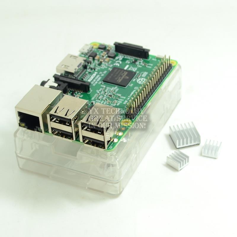 Raspberry Pi 3 Model B Board+shell Heat sinks 1GB LPDDR2 Quad-Core WiFi&Bluetooth